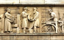 Stone-Sculpted Panels on the exterior of Blackburn Museum and Art Gallery